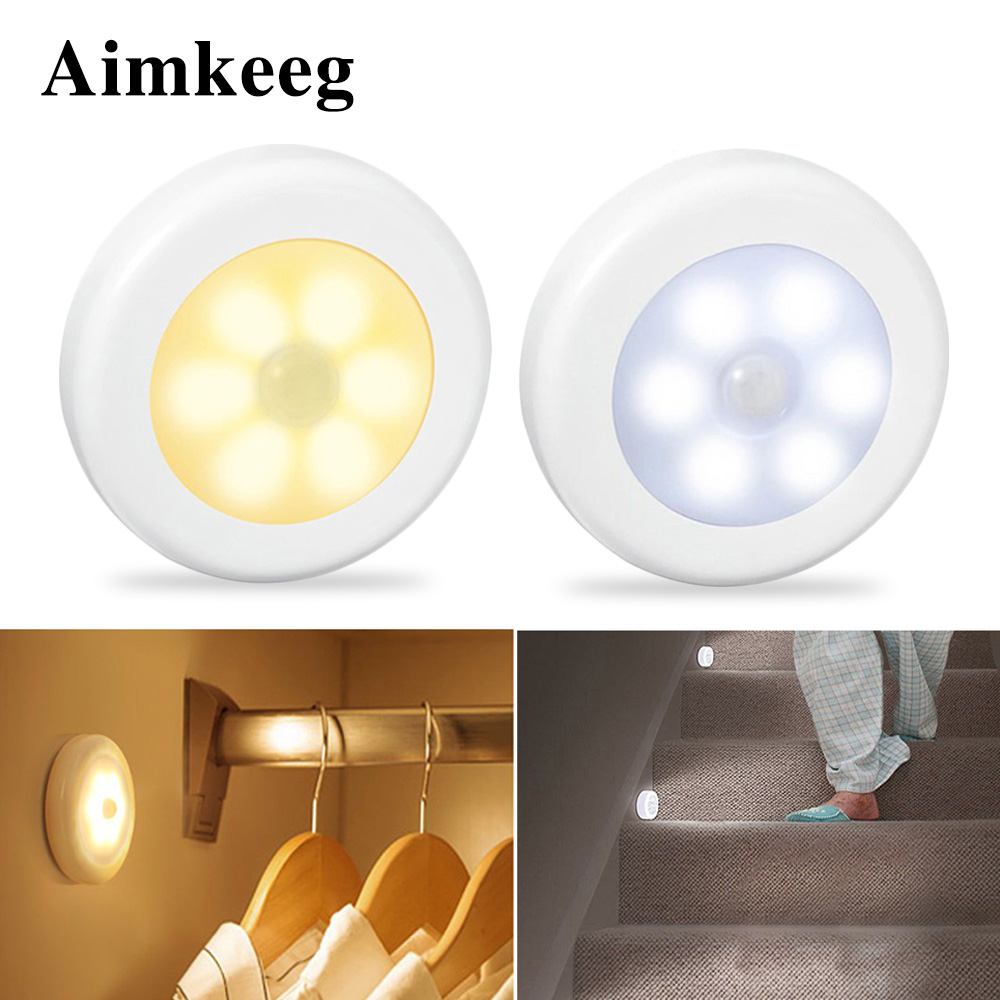 Aimkeeg 1Pc 6 LEDs PIR Motion Sensor Night Light Wireless Detector Light Wall Lamp Light Auto On/Off Closet Battery Power