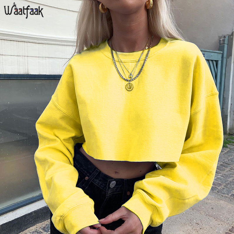 Waatfaak Solid Yellow Casual Oversized Hoodie Women Harajuku Black White Cotton Cropped Sweatshirt Top Long Sleeve Autumn Hoodie