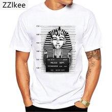 Engraçado bad tutankhamon mugshot impressão camiseta vintage hip hop masculino manga curta branco casual camiseta novely moda menino topos
