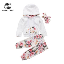 Brand New Infant Toddler Newborn Baby Girls Floral Outfit Clothes Tracksuit Hooded Tops+Leggings Pants Headband 3Pcs Set 3-24M