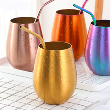500ml Beer Cup With Straw 304 Stainless Steel Beer Mugs Wine Tumbler Colorful Drinking Mug Cocktail Juice Coffee Milk Cup cow udder shaped juice pitcher clear wine beer mug cup double glazing handle glass gift innovative milk creamer coffee