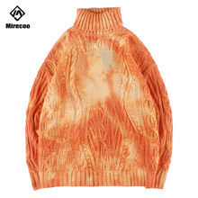 Mirecoo Men Retro Pullover Sweaters Acrylic Turtleneck Sweater Mens Turtle Neck Men Harajuku Knitted Sweaters 2019 Winter Couple