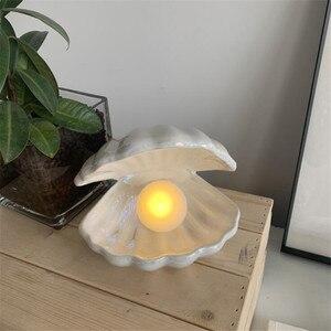 Concha de cerâmica de luz noturna, lâmpada de led pérola decorativa para presente decoração do quarto da casa luzes criativas adereços