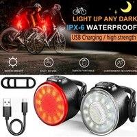 Conjunto de luces de bicicleta ultrabrillante, 2 LED y trasera, recargable vía USB, IPX6, resistente al agua