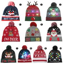 Christmas Hat Light LED Christmas Hat Print Santa Claus Chri