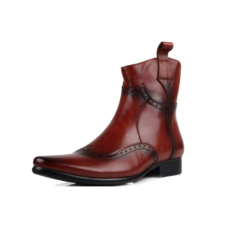 Winter Men Boots Top Quality Genuine Leather Riding Boots Vintage Handmade Pointed Toe Punk Brogue Fashion Biker  Shoes