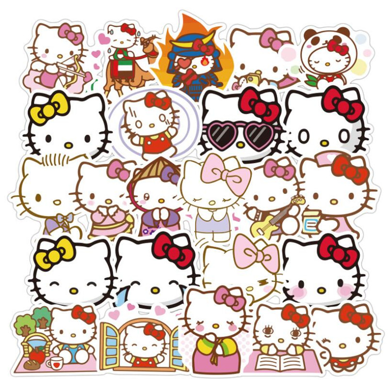 50pcs Cute Hello Kitty Stickers Waterproof Laptop Skateboard Water Cup Pegatinas Refrigerator Car Motorcycle PVC Kids Stickers