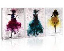 Watercolor Girl Dance Wall Art Decor Modern Abstract Black and White Canvas Painting Kitchen Print Pictures for Home Living Room