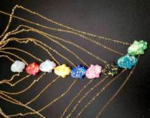 10pcs lot Red Blue White Pink Opal Hamsa Necklace Hand Fatima Pendant Necklace stainless steel Palm Choker Women Jewelry Collier(China)