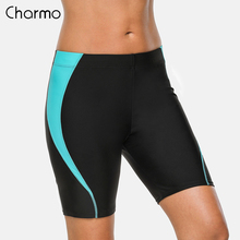 Charmo Women Sports Swimming Trunks Ladies Slim Patchwork Bikini Bottom Skinny Swim Shorts Boy Swimwear Briefs