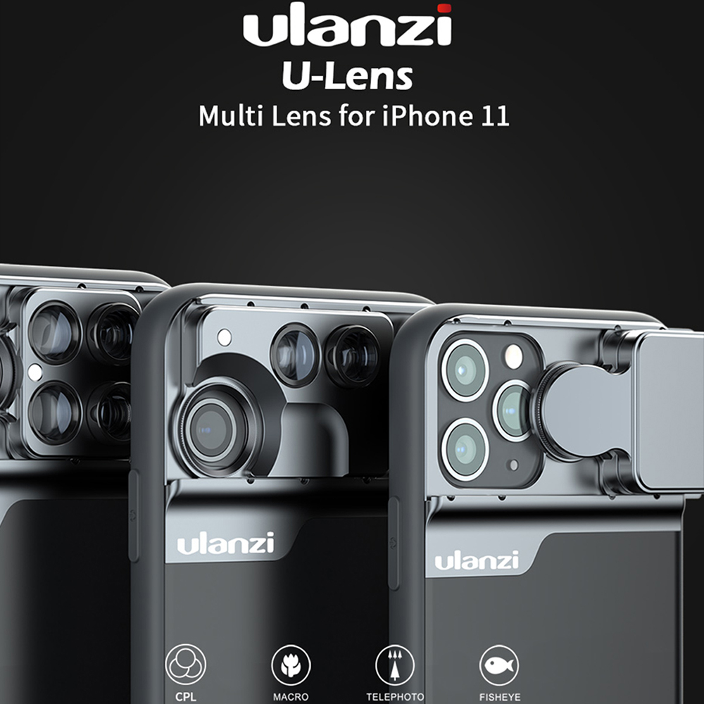 Ulanzi Telefoon Case Met 5 in 1 Telefoon Lens CPL Filter/10X/20X Macro/180 ° Fisheye /2X Telelens voor iPhone 11/11 Pro/11 Pro Max