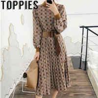 Vintage krata Midi sukienka kobieta 2019 jesień dzianiny łączona sukienka latarnia rękaw bluzki z paskiem vestidos mujer