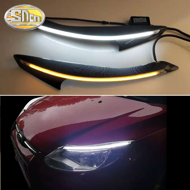 SNCN 2PCS Car Headlight Eyebrow Decoration Turn Signal DRL LED Daytime Running <font><b>Light</b></font> For <font><b>Ford</b></font> <font><b>Focus</b></font> 3 MK3 <font><b>2012</b></font> 2013 2014 image