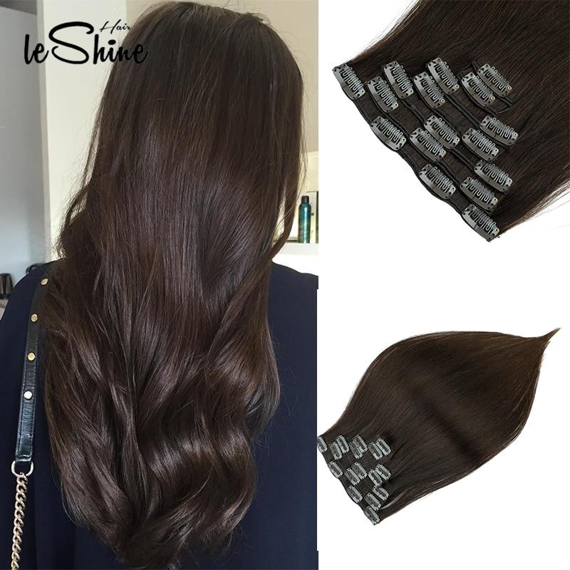 Leshine Human Hair Clip In Extensions Natural Hair Clip Ins Remy Hair Brazilian Straight Clip Ins 120G 7pcs/Set Hair Clips Ins