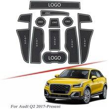 Brand LOGO Car Styling For AUDI Q2 2017 Present Gate slot pad Interior Door Groove Mat Non slip dust Mat Intorior Accessory