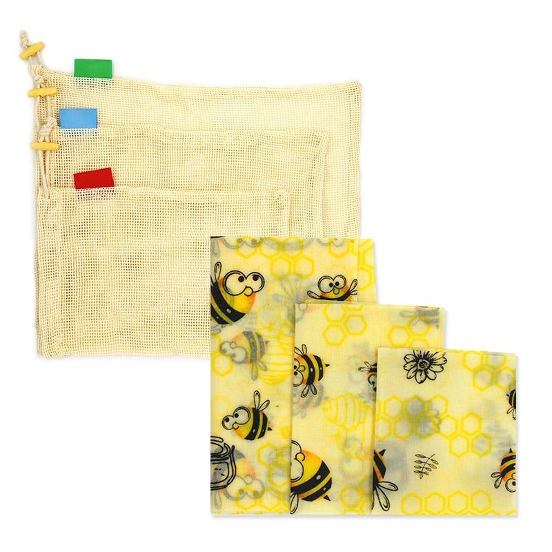 Wiederverwendbare lebensmittel wrap bee wachs wrap bee wachs abdeckung kunststoff wrap Sets Bienenwachs Wrap Tuch Organische Baumwolle Mesh Lagerung Tasche eco Freundliche