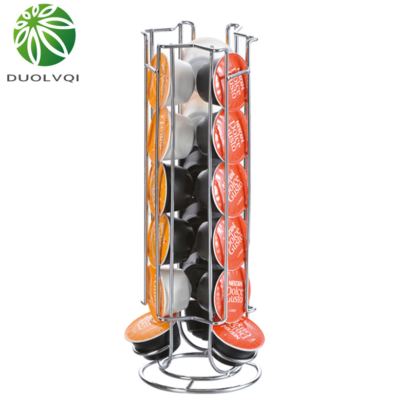 Duolvqi Metal Coffee Pod Holder Iron Chrome Plating Stand Coffee Capsule Storage Rack For 18pcs Dolce Gusto Capsule