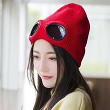 купить Knitted Hat With Glasses Windproof Solid Color Cap Winter Skiing For Men And Women Beanie Hats Fashion Warm Accessories дешево