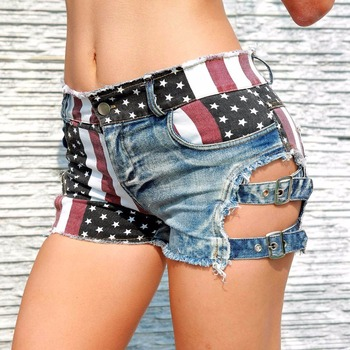 New 2020 Sexy Women's High Waist Hole Jeans Shorts American Flag Printed Daisy Duke Ripped Denim Shorts daisy printed empire waist handkerchief tankini