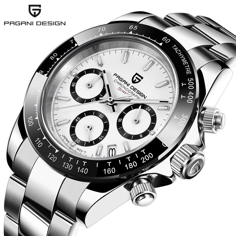 PAGANI DESIGN Men's Watches Date Quartz watch Japan Movt Wrist Watch Men Chronograph Relogio Masculino Sapphire Dial Glass Clock