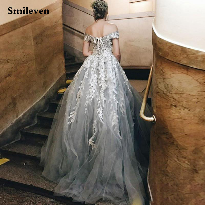 Smileven Gray Lace Formal Evening Dresses 2020 A-line Appliques Off The Shoulder Backless Prom Party Gowns Long Custom Made