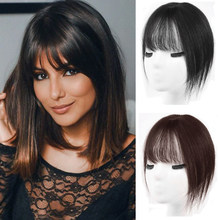 SHANGKE frauen 100% Menschliches Haar 3D Pony Haar Verlängerung Clip In Fringe Haar Full Coverage Pony Natürliche Braun haar(China)