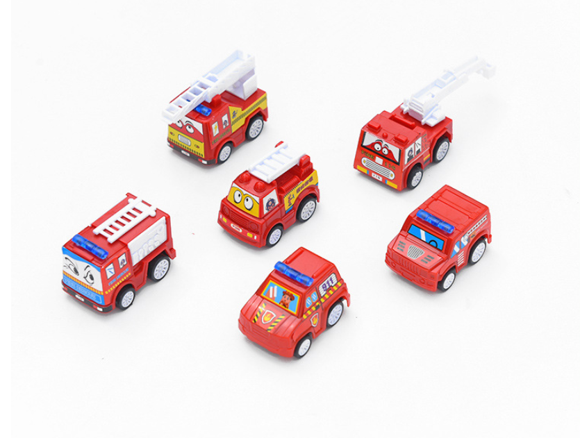 6pcs Pull Back Car Toys Mobile Machinery Shop Construction Vehicle Fire Truck Taxi Model Baby Mini Cars Gift Children Toys