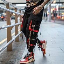 Мужские повседневные брюки карго с буквенными лентами в стиле