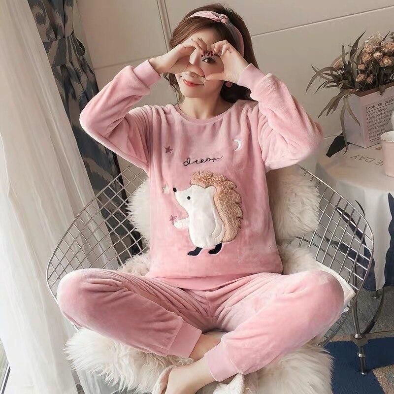 2019 Autumn Winter Women   Pajamas     Sets   Sleepwear Thick Warm Velvet Suits Flannel Long Sleeve Pyjamas Femme Cartoon Home Clothes