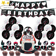 1 conjunto de vídeo tema balões banner bolo toppers feliz aniversário bandeiras bolo topper chuveiro do bebê curto vídeo festa decoração crianças brinquedo