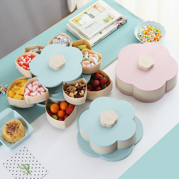 Creative Double-layer Petal Candy Box Nuts Case Snack Storage Box Container Living Room Rotating Fruit Plate Desktop Organizer
