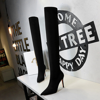 Women Sexy Super Boots Ladies Over Knee Boots Autumn Winter Pointed Elastic Fabric 9.5cm High Heel Socks Boots