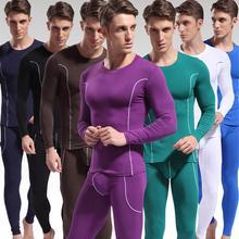 Fashion Men Stripe Pattern Long Sleeve Thermal Underwear Slim-Fit Top Pants Set New Male Home Nightwear Sleepwear Nightgown Men