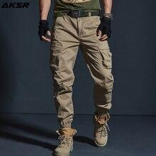 AKSR pantalones Cargo de algodón para hombre, estilo Hip Hop, táctico, militar, para correr, talla grande