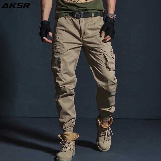 AKSR سروال بنمط هيب هوب للرجال من القطن بنطلون كبير الحجم مرن تكتيكي سراويلي حريمي بنطلون عسكري بنطلون ركض