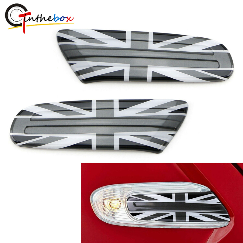 GTinthebox Black White UK Union Jack Flag Style Side Marker Lamp Scuttle Insert For MINI Cooper 2014-up F55 F56 F57