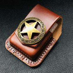 Prawdziwej skóry etui na zapalniczkę etui papierosów ręcznie zapalniczka olejowa uchwyt torba na Zippo lżejsze Model 5 gwiazda