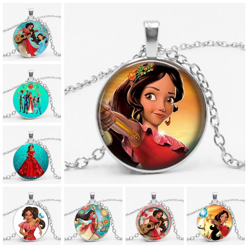 2019 HOT Elena of Avalor Necklace Art Latam Princess Glass Round Necklaces for Girls and Women