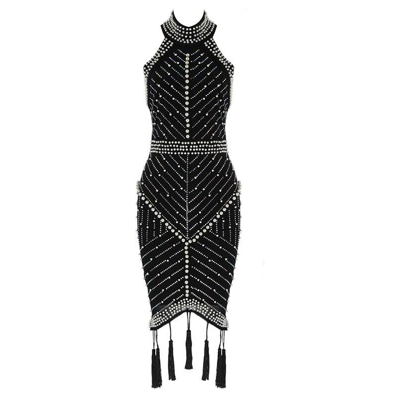 Бандажное платье с бусинами, сексуальное, без рукавов, с лямкой на шее, летние платья, вечерние, Клубные, знаменитости, женская одежда, 2020|Платья|   | АлиЭкспресс