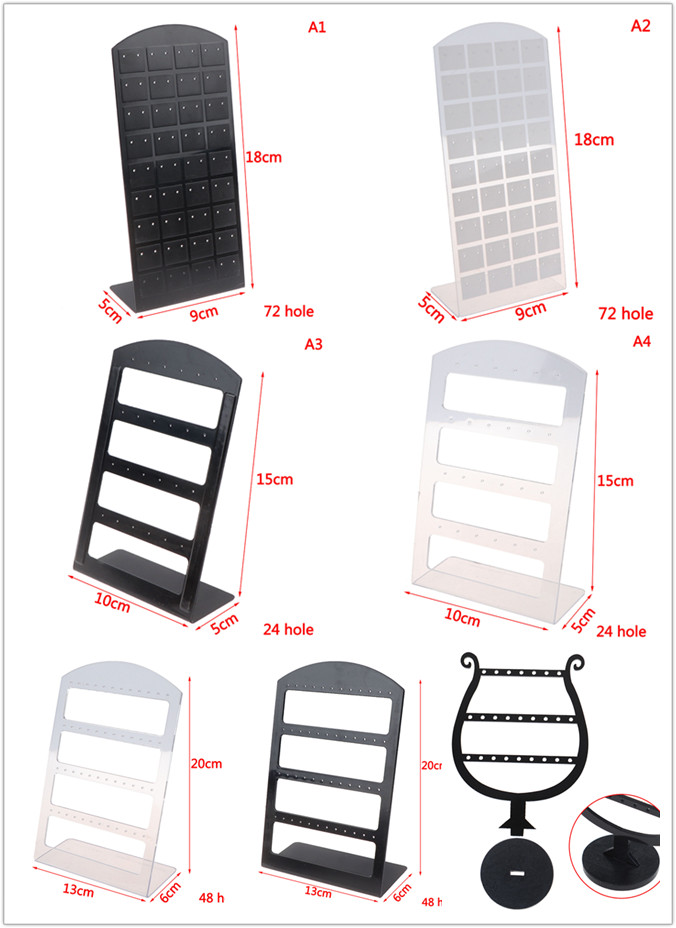 7 Size Fashion Earrings Ear Studs Jewelry Show Plastic Jewelry Display Rack Metal Stand Organizer Holder For Necklaces