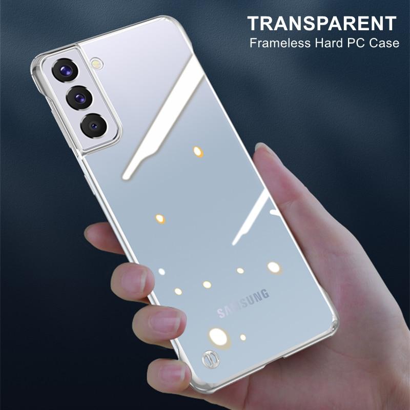 Бескаркасный Прозрачный чехол для Samsung Galaxy S21 Plus S21 Ultra 5G, тонкий прозрачный жесткий пластиковый чехол для Note 20 S20 Plus