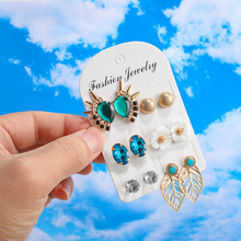 Bohemian Stud Earrings Set For Women 6 Pair/set  Flower Rhinestone Party Earring 2019 Stud Female Brincos Fashion Beach Jewelry цена