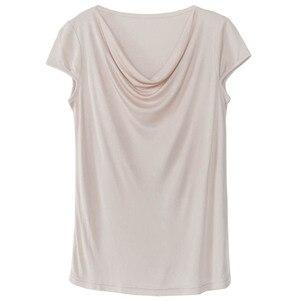Image 2 - 비스코스 실크 혼합 탑 t 셔츠 여성 천연 실크 고품질 우아한 플러스 사이즈 짧은 루스 셔츠 여름 레이디 무료 배송
