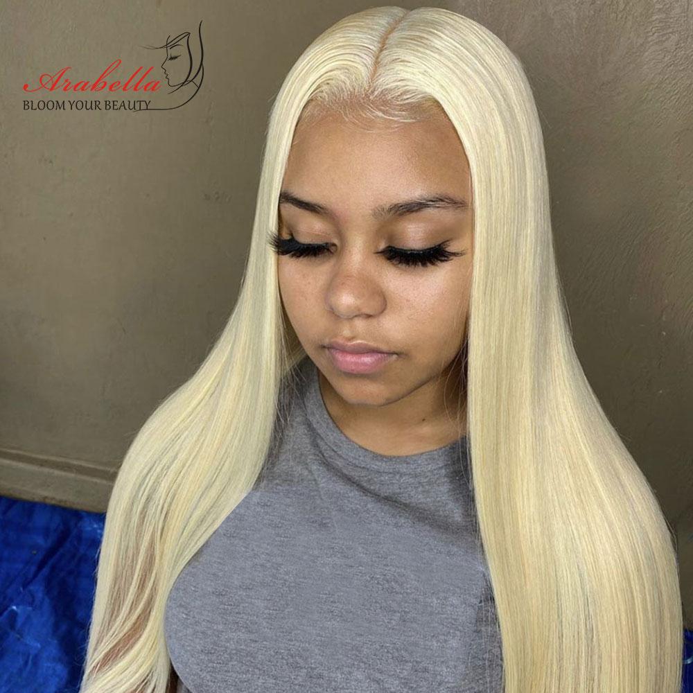 613 T partie perruque de dentelle 100% perruques de cheveux humains pré plumés noeuds blanchis avec des cheveux de bébé Arabella Remy cheveux perruque Blonde dentelle perruques