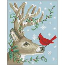 Зимний рисунок оленя птицы Счетный крест 11ct 14ct 18ct Сделай