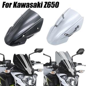 for Kawasaki Z650 Z-650 2017 2018 2019 Double Bubble Windscreen Windshield Shield Screen Visor Parabrisa with Bracket Motorcycle