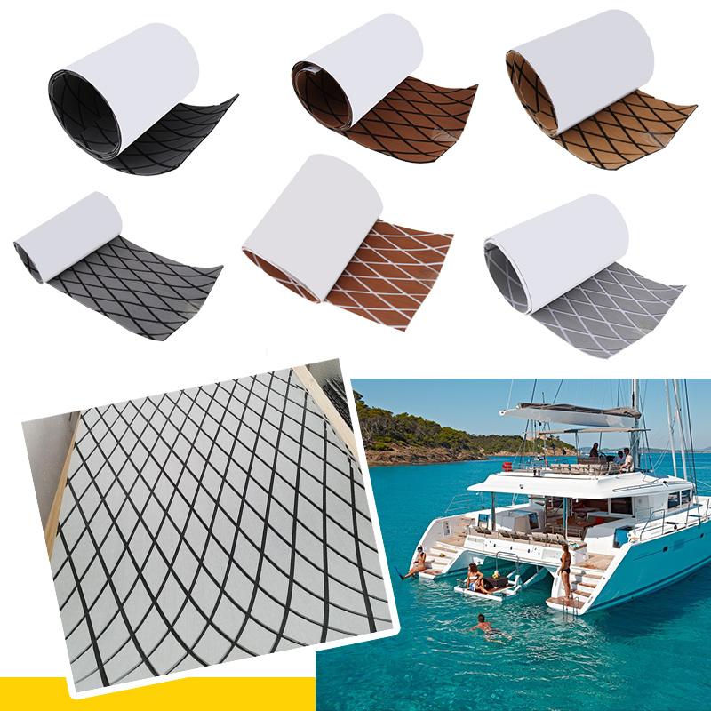 1900x350x6mm Boat Flooring Sheet Cross Style EVA Foam Teak Sheet Marine Flooring Yacht Decking Self-Adhesive Non-absorbent Water