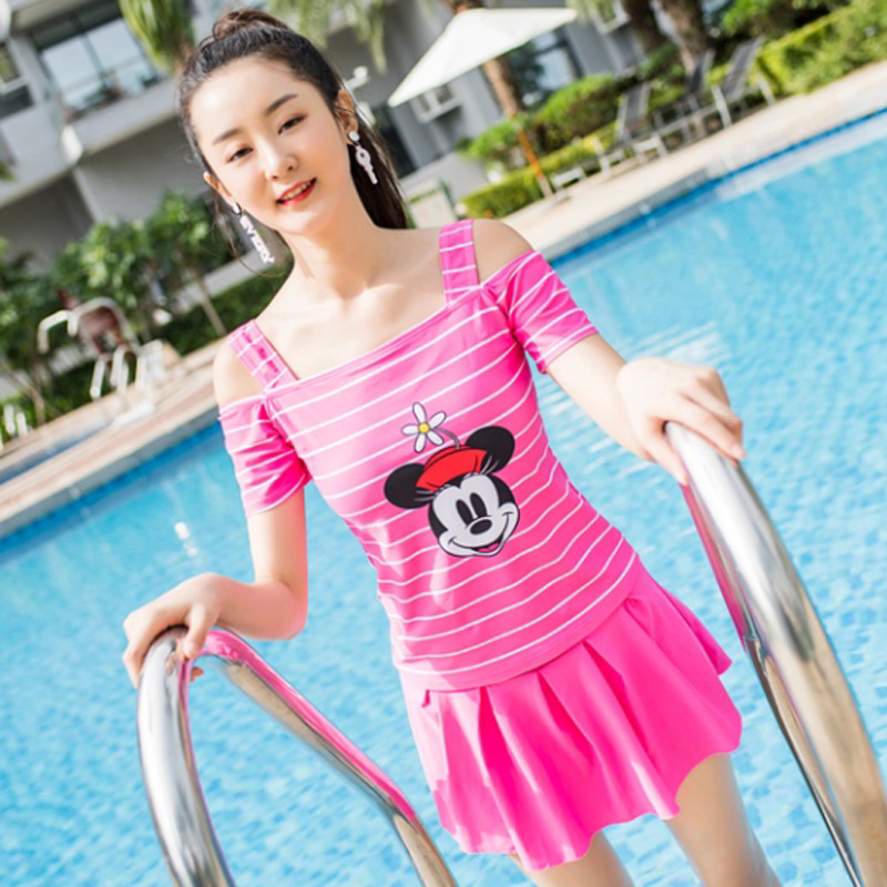 Disney Bathing Suit Girls' Dress-Split Type Two-Piece Set Cute Mickey Mouse Students Quick-Dry Tour Bathing Suit Ssq20007