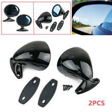 Left & Right Universal Black Car Door Wing Blue Anti-glare Side View Mirror ABS