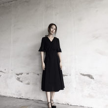 2020 Fashion Black Chiffon Dress Women V-Neck Sexy Summer Dresses Casual Slim Elegant Ladies Party Vestido Longo WXF732(China)